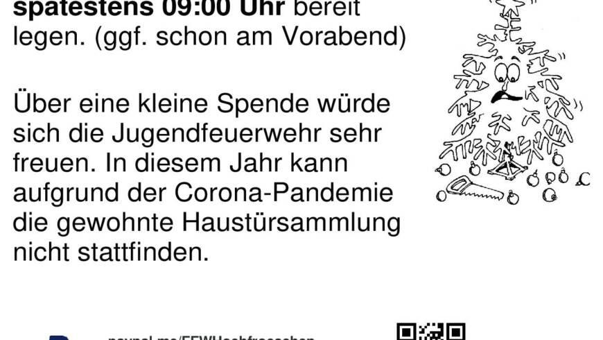 Christbaumsammlung findet am Sa 16.01.2021 statt